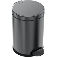 simplehuman CW2070 1.2 Gallon / 4.5 Liter Black Stainless Steel Round Step-On Trash Can