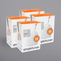 simplehuman CW0258MC 8-9 Gallon / 30-35 Liter Code H White Custom Fit Trash Can Liner - 240/Case
