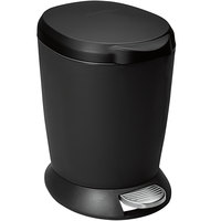 simplehuman CW1319 1.6 Gallon / 6 Liter Black Round Step-On Trash Can