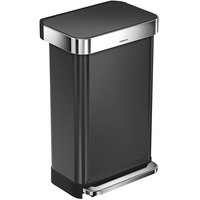 Simplehuman CW2053 12 Gallon / 45 Liter Black Stainless Steel Rectangular Front Step-On Trash Can with Liner Pocket