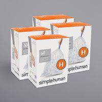 simplehuman CW0286MC 8-9 Gallon / 30-35 Liter Code H Clear Custom Fit Trash Can Liner - 240/Case