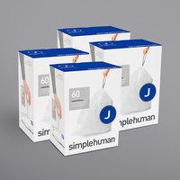 simplehuman CW0259MC 8-12 Gallon / 30-45 Liter Code J White Custom Fit Trash Can Liner - 240/Case