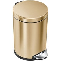 simplehuman CW2074 1.2 Gallon / 4.5 Liter Brass Stainless Steel Round Step-On Trash Can