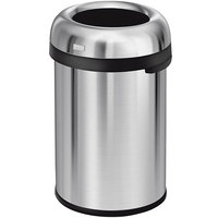 simplehuman CW1471 30 Gallon / 115 Liter Brushed Stainless Steel Bullet Open Top Round Trash Can
