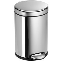 Simplehuman CW1851 1.2 Gallon / 4.5 Liter Polished Stainless Steel Round Step-On Trash Can