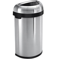 Simplehuman CW1468 16 Gallon / 60 Liter Brushed Stainless Steel Semi-Round Open Top Trash Can