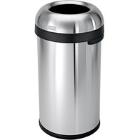 simplehuman CW1407 16 Gallon / 60 Liter Brushed Stainless Steel Bullet Open Top Round Trash Can
