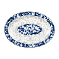 Blue Dragon 9 inch x 6 5/8 inch Oval Melamine Platter - 12 / Pack