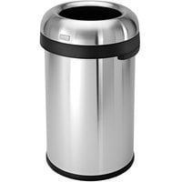 Simplehuman CW1469 21 Gallon / 80 Liter Brushed Stainless Steel Bullet Open Top Round Trash Can
