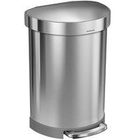 Simplehuman CW2029 16 Gallon / 60 Liter Brushed Stainless Steel Semi-Round Step-On Trash Can