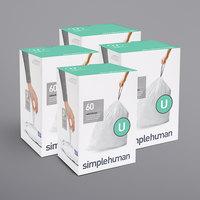 simplehuman CW0265MC 14-21 Gallon / 55-80 Liter Code U White Custom Fit Trash Can Liner - 240/Case