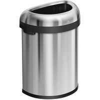 simplehuman CW1473 21 Gallon / 80 Liter Brushed Stainless Steel Semi-Round Open Top Trash Can
