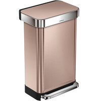 Simplehuman CW2034 12 Gallon / 45 Liter Rose Gold Stainless Steel Rectangular Front Step-On Trash Can with Liner Pocket