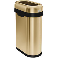simplehuman CW1487 13 Gallon / 50 Liter Brass Stainless Steel Slim Open Top Oval Trash Can