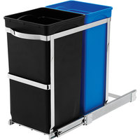 simplehuman CW1016 9 Gallon / 35 Liter Black/Blue Dual Compartment Under Counter Pull-Out Trash and Recycling Can