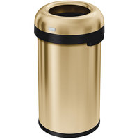 Simple Human CW1488 16 Gallon / 60 Liter Brass Stainless Steel Bullet Open Top Round Trash Can