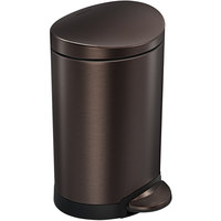 simplehuman CW2038 1.6 Gallon / 6 Liter Bronze Stainless Steel Semi-Round Step-On Trash Can
