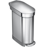 Simplehuman CW2044 12 Gallon / 45 Liter Brushed Stainless Steel Slim Step-On Trash Can