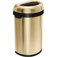 Simplehuman CW1489 16 Gallon / 60 Liter Brass Stainless Steel Semi-Round Open Top Trash Can