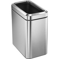 simplehuman CW1490 6.6 Gallon / 25 Liter Brushed Stainless Steel Slim Open Top Wastebasket / Trash Can