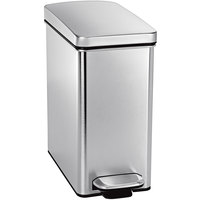 simplehuman CW1898 2.6 Gallon / 10 Liter Brushed Stainless Steel Rectangular End Step-On Trash Can