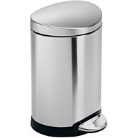 simplehuman CW1834 1.6 Gallon / 6 Liter Brushed Stainless Steel Semi-Round Step-On Trash Can