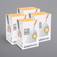 simplehuman CW0264MC 13-17 Gallon / 50-65 Liter Code Q White Custom Fit Trash Can Liner - 240/Case