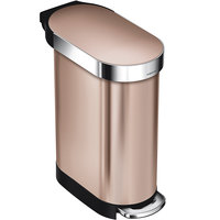 Simplehuman CW2067 12 Gallon / 45 Liter Rose Gold Stainless Steel Slim Step-On Trash Can