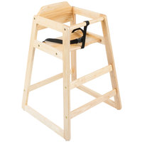 Lancaster Table &amp&#x3b; Seating Assembled Stacking Restaurant Wood High Chair with Natural Finish