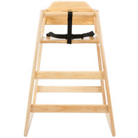 Lancaster Table &amp&#x3b; Seating Stacking Restaurant Wood High Chair with Natural Finish - Assembled
