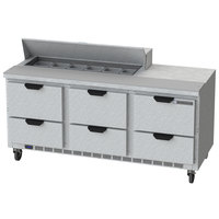 Beverage-Air SPED72HC-12-6 Elite Series 72 inch 6 Drawer Refrigerated Sandwich Prep Table