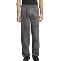 Uncommon Threads 4003 Unisex Gray / Black Chevron Stripe Customizable Yarn-Dyed Chef Pants - 3XL