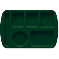 GET TL-151 Hunter Green Melamine 9 1/2 inch x 14 3/4 inch Left Hand 6 Compartment Tray - 12/Pack
