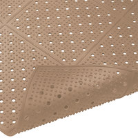 Cactus Mat 1640R-B4 REVERS-a-MAT 4' Wide Brown Reversible Rubber Anti-Fatigue Safety Runner Mat - 3/8 inch Thick