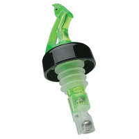 Precision Pours 34 SG C/F 0.75 oz. Shamrock Green Measured Liquor Pourer with Collar and Fliptop - 12/Pack