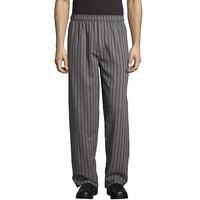 Uncommon Threads 4003 Unisex Gray / Black Chevron Stripe Customizable Yarn-Dyed Chef Pants - 4XL