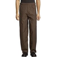 Uncommon Threads 4003 Unisex Black / Copper Stripe Customizable Yarn-Dyed Chef Pants - 4XL