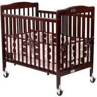 L.A. Baby 888A-C 24 inch x 38 inch Cherry Folding Pocket Crib with 3 inch Fire Retardant Mattress