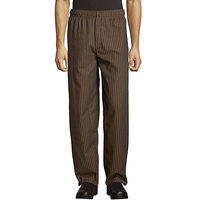 Uncommon Threads 4003 Unisex Black / Copper Stripe Customizable Yarn-Dyed Chef Pants - XL
