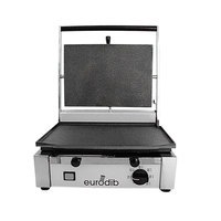 Eurodib CORT-F Panini Grill with Smooth Plates - 14 1/2 inch x 10 inch Cooking Surface - 110V, 1800W