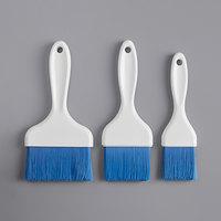 Carlisle Sparta Spectrum Galaxy Series 3-Piece Blue Nylon Bristle Pastry / Basting Brush Set