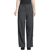 Uncommon Threads 4003 Unisex Black / Gray Houndstooth Customizable Yarn-Dyed Chef Pants - M