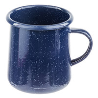 Tablecraft 10156 Enamelware 16 oz. Blue Rolled Rim Mug with Speckles