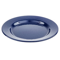 Tablecraft 10164 Enamelware 10 1/4 inch Round Blue Plate with Speckles