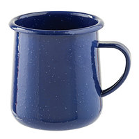 Tablecraft 10155 Enamelware 12 oz. Blue Rolled Rim Mug with Speckles