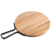 Tablecraft 10079 Industrial 10 inch Round Acacia Wood Serving Board with Handle