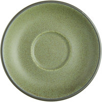 Acopa Embers 5 1/2 inch Moss Green Matte Stoneware Saucer - 24/Case