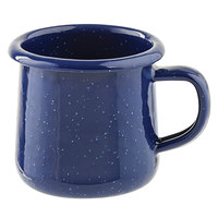 Tablecraft 10154 Enamelware 6 oz. Blue Rolled Rim Mug with Speckles
