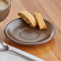 Acopa Embers 5 1/2 inch Hickory Brown Matte Stoneware Saucer - 24/Case