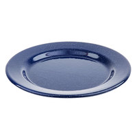Tablecraft 10163 Enamelware 8 inch Round Blue Plate with Speckles